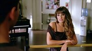 Lea Michele took a seductive turn on 'Glee' in a sexy chocolate off-the-shoulder top.