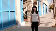 Though she rarely wears anything other than dresses and skirts, Zooey Deschanel sported these black skinny pants with a darling bow-detailed sweater on 'New Girl.'