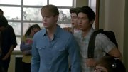 Chord Overstreet baby blue shirt gave him a slightly Western vibe in the McKinley halls.