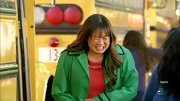 Jenna Ushkowitz sported a Kelly green rain coat with blue trim on a recent episode of 'Glee.'