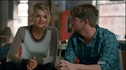 Eliza Coupe bundled up in style on 'Happy Endings' in a cozy tri-color sweater.