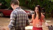 "Rachel Bilson toyed with color and volume in a loose peach blouse and baggy red trousers on ""Hart of Dixie."""