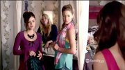 Sasha Pieterse was all about pastels on 'Pretty Little Liars,' layering a pink scarf over her silky mint blouse.