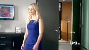 Kari Matchett kept things simple on 'Covert Affairs' with a blue sheath dress.
