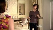 Penn Badgley kept his artsy look intact with messy curls and a tight v-neck sweater.