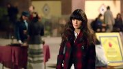 Zooey Deschanel looked lumberjack-chic in this black and red plaid jacket.