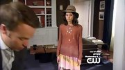 Sofia Black'D'Elia kept her look eclectic on 'Gossip Girl,' pairing a rust sweater with a tie dye skirt.