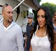 Melissa Gorga's fringed shoulder-dusters added drama to her stage-wear.