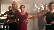 Lea Michele hit the dance studio on 'Glee' in style wearing a burgundy leotard and matching skirt.