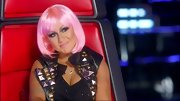 Christina Aguilera was a biker babe on 'The Voice' in a studded leather vest and cheeky pink wig.