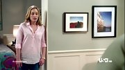Piper Perabo kicked back on 'Covert Affairs' in a slightly rumpled pink blouse.