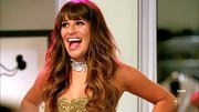 Lea Michele accented her beaded ballgown with an unusual silver choker on 'Glee.'