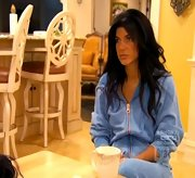 Teresa Giudice lounged about the house in a baby blue velour track suit.