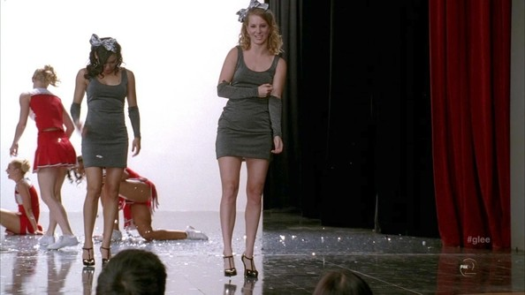Heather Morris did her best Whitney Houston in a gray tank dress and matching arm warmers.