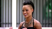 Rihanna look-alike Paige Thomas rocks an edgy Mohawk with lines shaved into the sides.