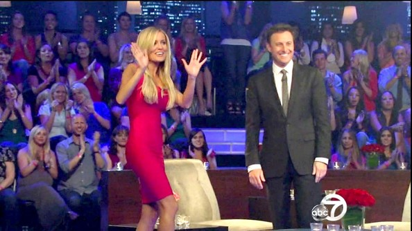 Emily Maynard wowed her former suitors in a skintight bandage dress.