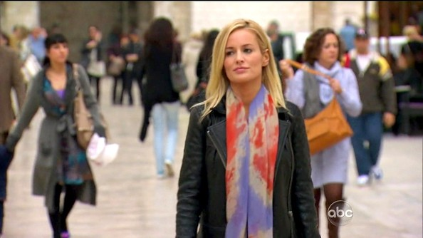 Emily Maynard injected a gypsy vibe into her street style with a pastel tie-dye scarf.